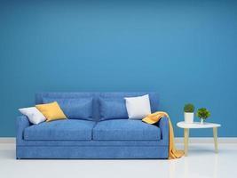 sala de estar com parede azul