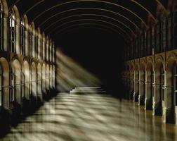salão escuro com luz e sombra, 3d