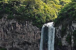 Cachoeira do lado do penhasco na floresta foto