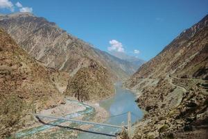 Rio Indus fluindo através de montanhas