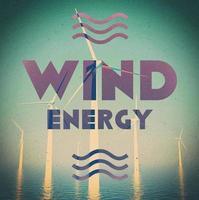 poster vintage grunge de energia eólica
