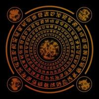 runas marrons em fundo preto foto