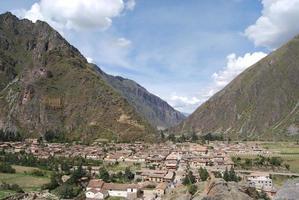 Visão geral de ollantaytambo inca vale sagrado peru foto