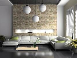 interior moderno de renderização em 3d de sala de estar