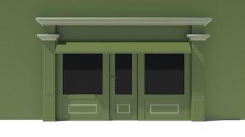 fachada ensolarada com janelas grandes, fachada branca e verde foto