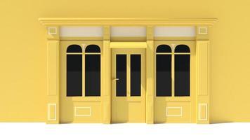 fachada ensolarada com janelas grandes, fachada branca e amarela foto