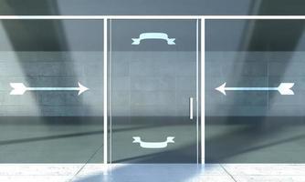 porta da frente da loja com placas convidativas, espaço vazio para texto foto