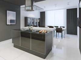 cozinha preto e branco estilo moderno