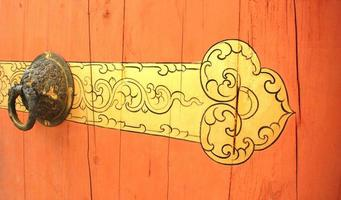 a parte da porta de madeira com maçaneta de metal
