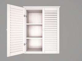Ilustração 3D do armário branco meio aberto e vazio foto