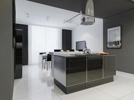 Interior de cozinha de estilo minimalista em tons monocromáticos