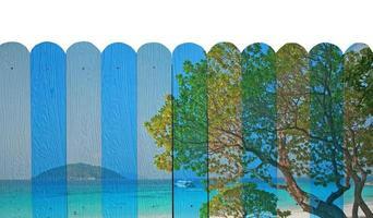 """mural da """"vista do mar da ilha similan"""". a pintura da cerca de madeira c"""