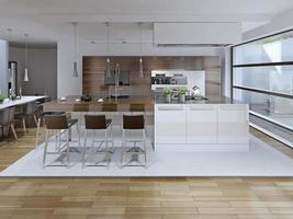 vista interior da luxuosa cozinha e sala de jantar