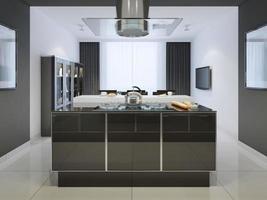 ideia do bar da ilha na cozinha techno