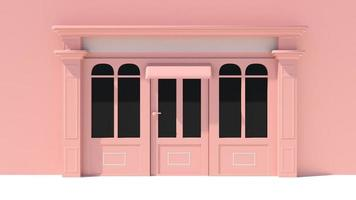 fachada ensolarada com janelas grandes, fachada branca e rosa foto
