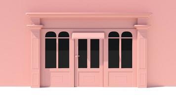 fachada ensolarada com janelas grandes, fachada branca e rosa