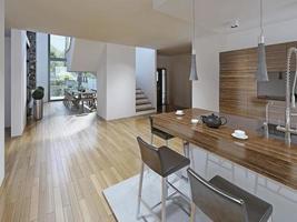 cozinha de alta tecnologia com sala de jantar foto