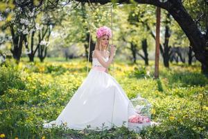 mulher, natureza, flor, gaiola foto