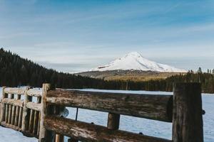 cerca de madeira marrom perto de Mt Hood, Oregon foto