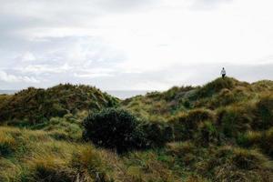 pessoa na colina de grama perto da água foto