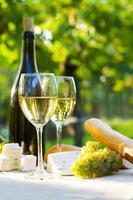 dois copos de vinho branco foto