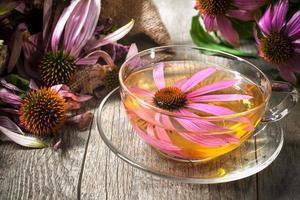 xícara de chá de equinácea na mesa de madeira foto