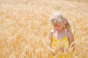garota loira no campo de centeio foto