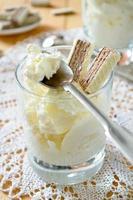 iogurte grego grosso com waffles de chocolate foto