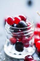 cranberry, mountain ash, viburnum, chokeberry em uma jarra de vidro foto