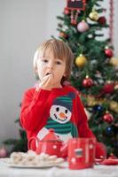 menino comendo biscoitos foto