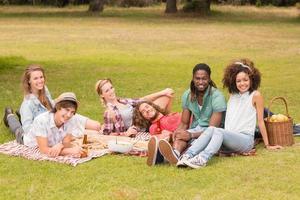 amigos felizes no parque fazendo piquenique foto