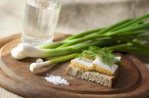 sanduíche com banha de porco salgada em pão de centeio e vodka foto