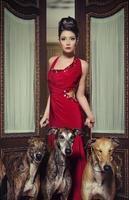senhora vermelha com cachorros foto