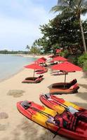 praia de cores vivas com caiaques
