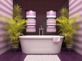 Ilustração 3D do banheiro interno com nichos na parede