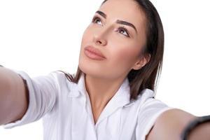 mulher linda tirando selfie foto