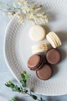 macarons franceses no prato foto