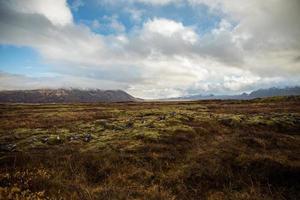campo de grama verde sob céu nublado durante o dia foto