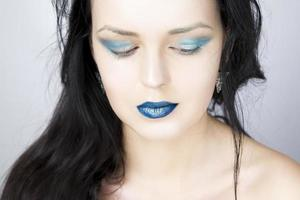 maquiagem linda jovem close-up