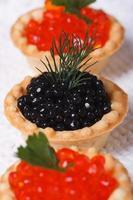 três tortinhas com caviar de salmão e caviar de esturjão foto