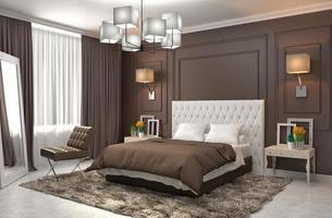 interior do quarto. Ilustração 3D foto