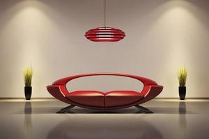 interior com sofá vermelho 3d