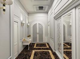 Ilustração 3D de um corredor em estilo clássico