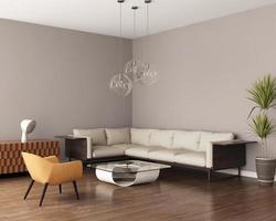 sala de estar cinza com sofá de couro