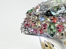 anel com diamante de cor diferente. fundo de joias da moda