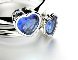 anel de noivado com safira em forma de coração. fundo de joias