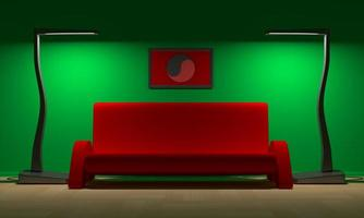 sofá vermelho e yin - yang