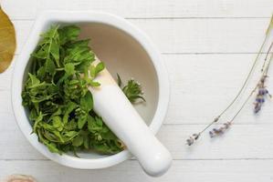 ervas daninhas comestíveis em argamassa foto