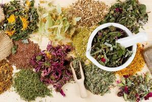 uma variedade de ervas medicinais e almofariz e pilão na mesa foto