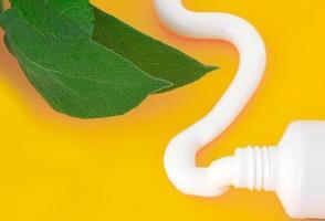 tubo de pasta de dente sabor hortelã foto
